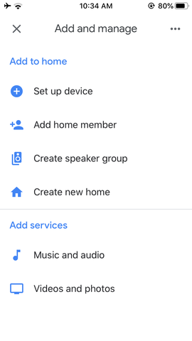 Google Home set up device menu