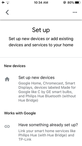 Google home app set up new device screen