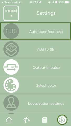 Remootio app settings menu auto open option