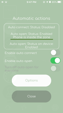 Remootio app auto open menu phone inside or outside the auto open zone geofence