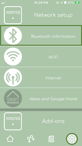 Remootio device settings menu bluetooth information submenu