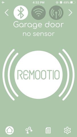 Remootio app connected to device