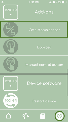 Remootio app settings menu gate status sensor option