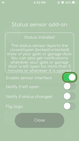 Remootio sensor enable interface