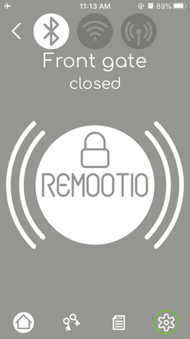 Remootio app settings button for key