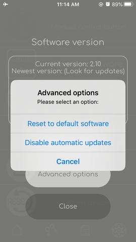 Remootio software version handling screen advanced options