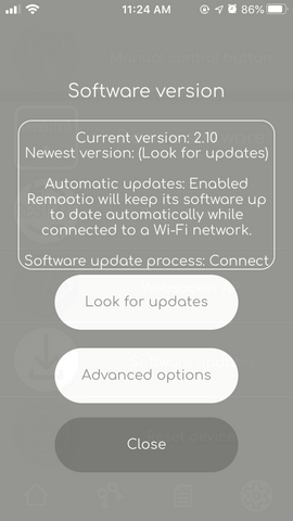 Remootio software version handling screen
