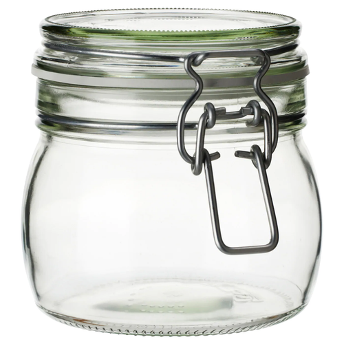 KORKEN Jar with lid, clear glass, 0.5 l (17 oz)