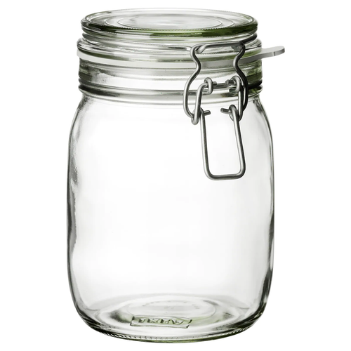 KORKEN Jar with lid, clear glass, 1 l (34 oz)