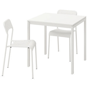 Table and 2 chairs, white, 75 cm