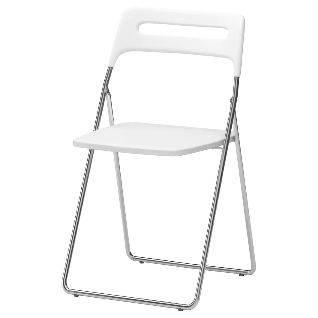NISSE Folding chair, high-gloss white, chrome-plated