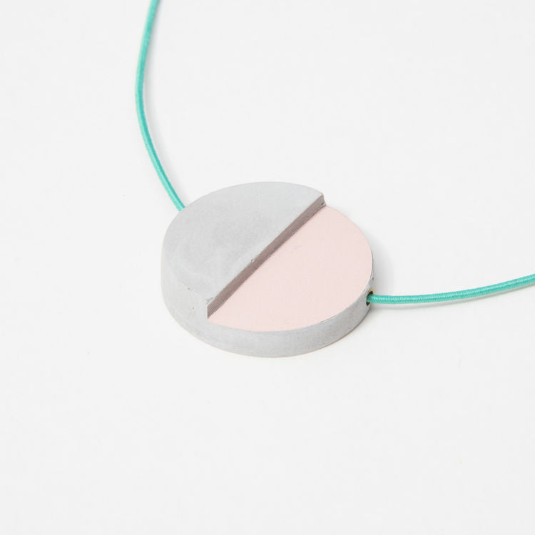 Block Design - Concrete Disc Pendant Necklace - Shop at the Old Fire Station