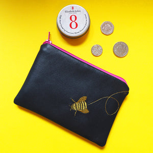 PaperCutts Designs Leather Embroidered Coin Purse