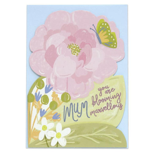 Raspberry Blossom 'Pop' Die Cut and Foiled Greeting Card - Shop at the Old Fire Station