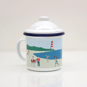 Rolfe & Wills Enamel Mug with Lid - Shop at the Old Fire Station