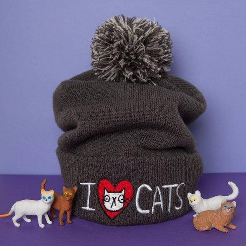 Katie Abey 'I Love Cats' Bobble Hat Old Fire Station