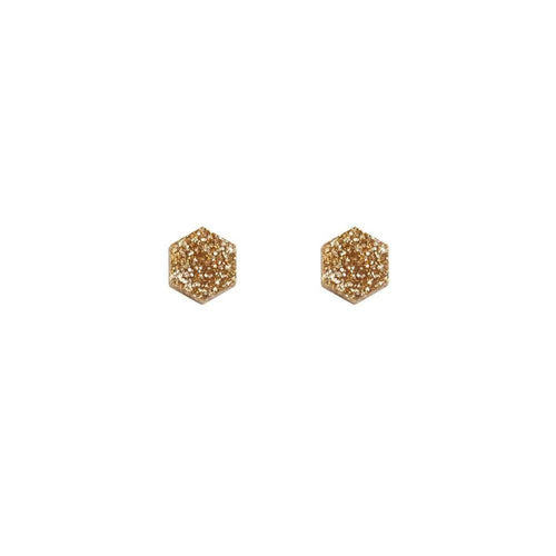Wolf & Moon Hexagon Studs - Shop at the Old Fire Station