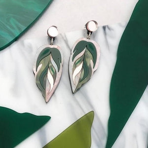 Rosa Pietsch Calathea Leaf Medium Drop Earrings Old Fire Station