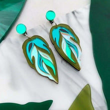 Load image into Gallery viewer, Rosa Pietsch Calathea Leaf Medium Drop Earrings Old Fire Station