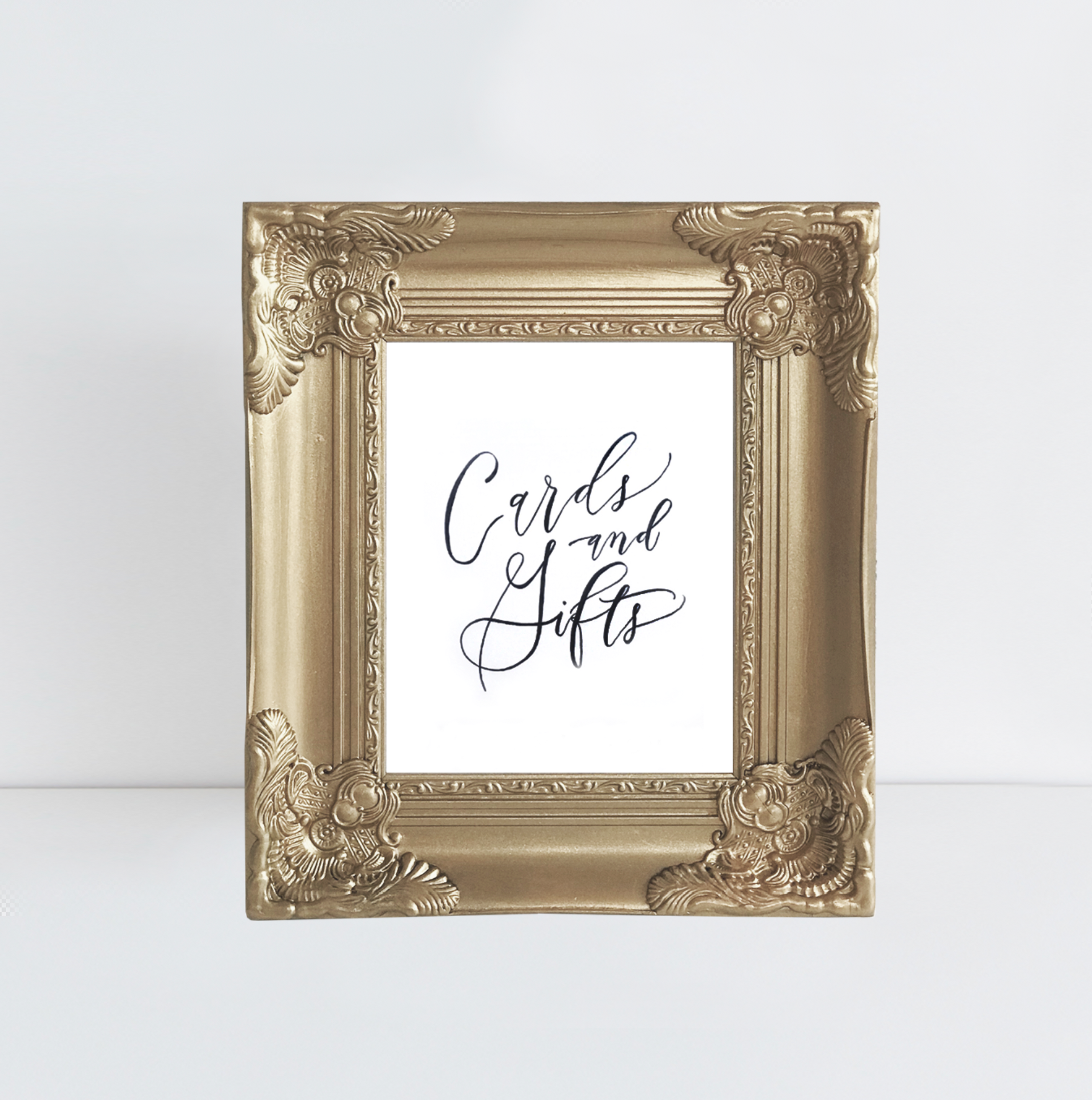 Cards + Gifts in Vintage Gold Frame | Rental