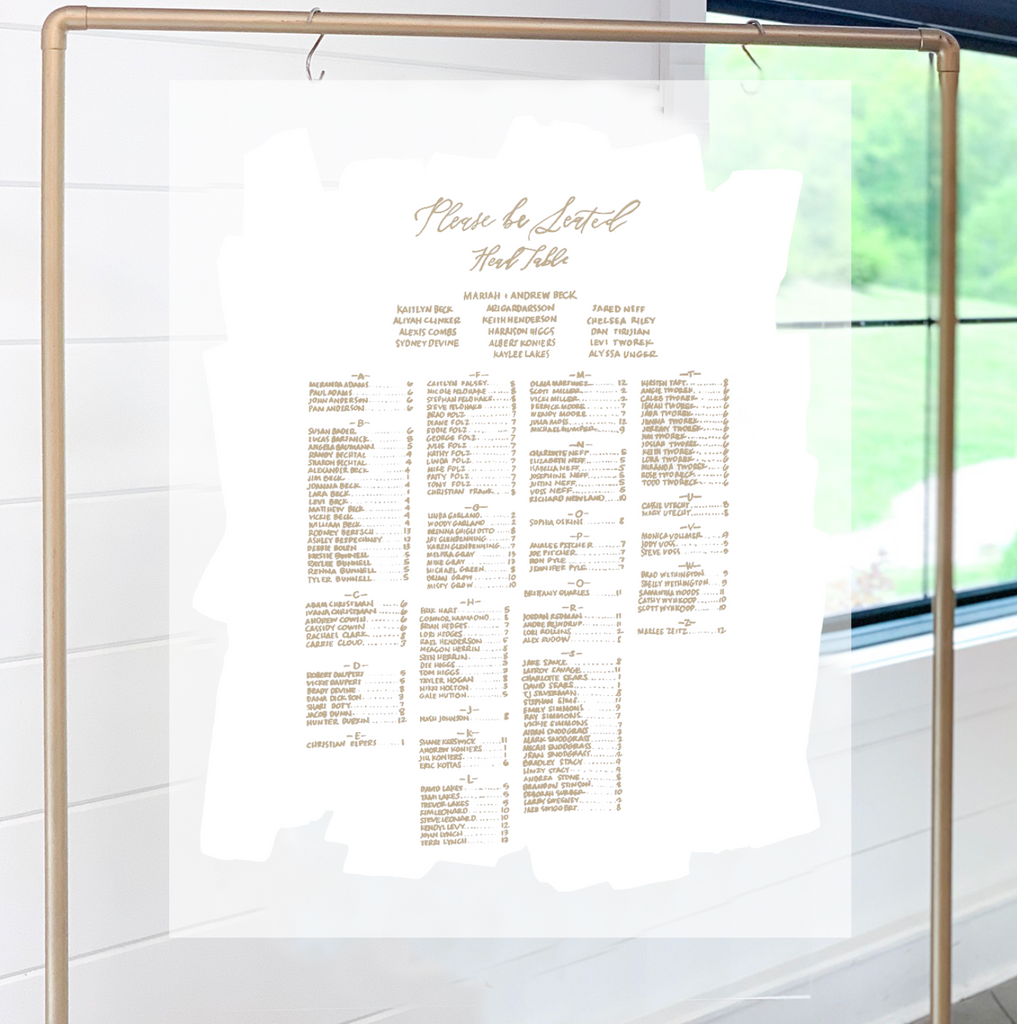 SEATING CHART White Painted Acrylic | RENTAL + LETTERING