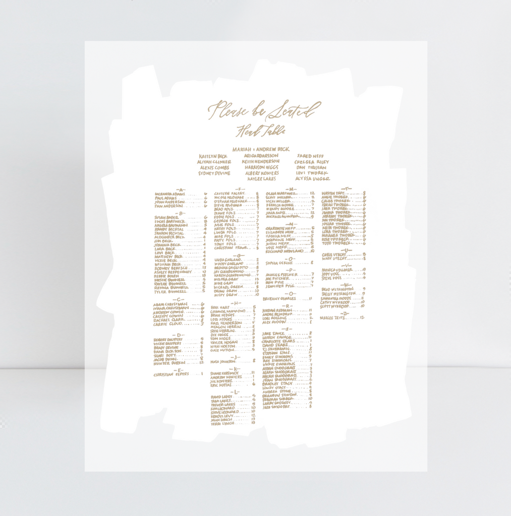 "28"" x 36"" SEATING CHART White Painted Acrylic 
