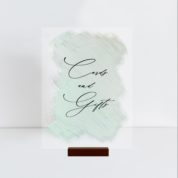 CARDS + GIFTS SIGN Eucalyptus Green Acrylic | RENTAL + LETTERING