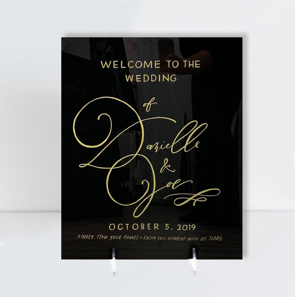 "18"" x 22"" Black Acyrlic Welcome Sign 