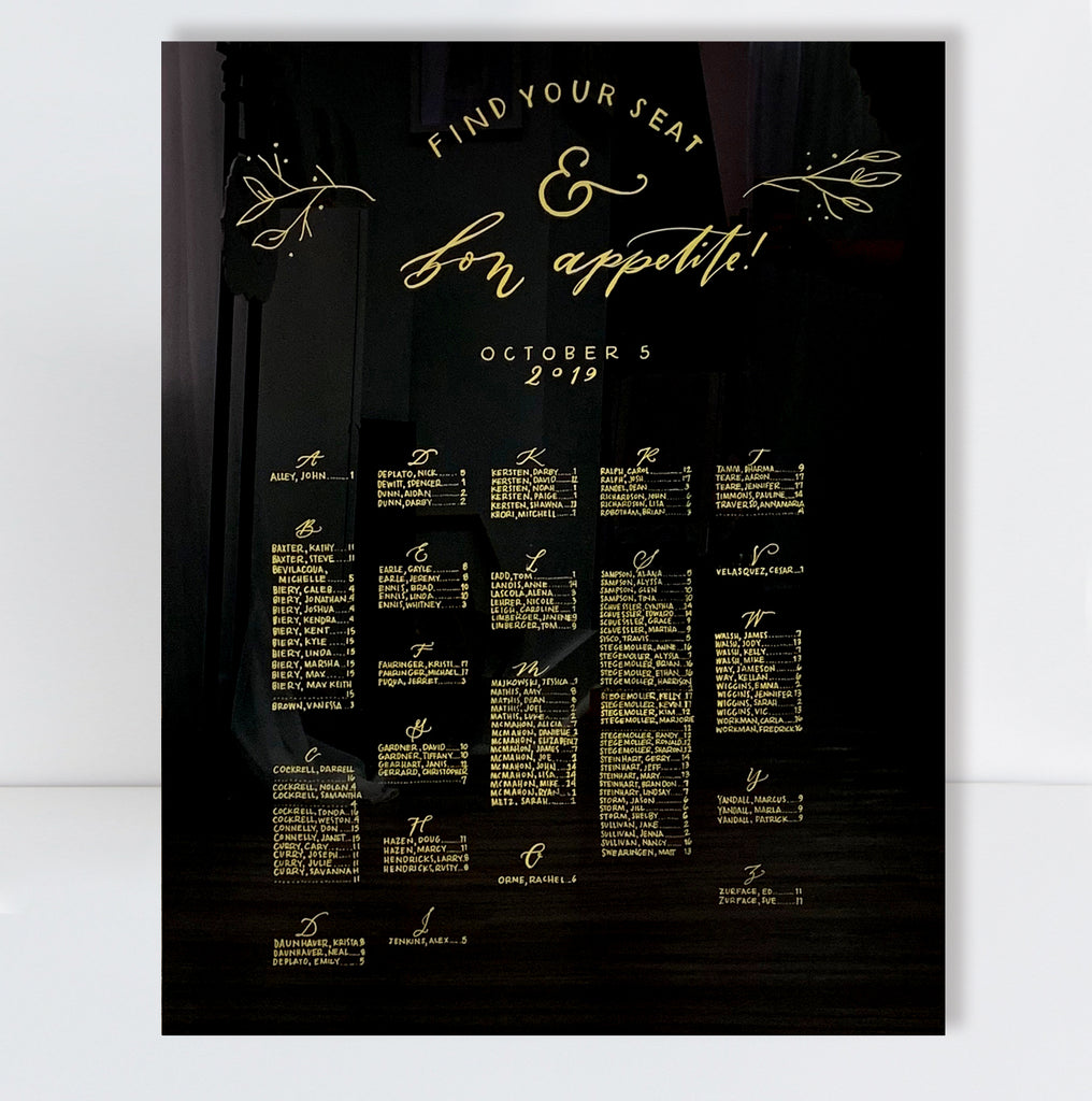 SEATING CHART Black Acrylic | RENTAL + LETTERING