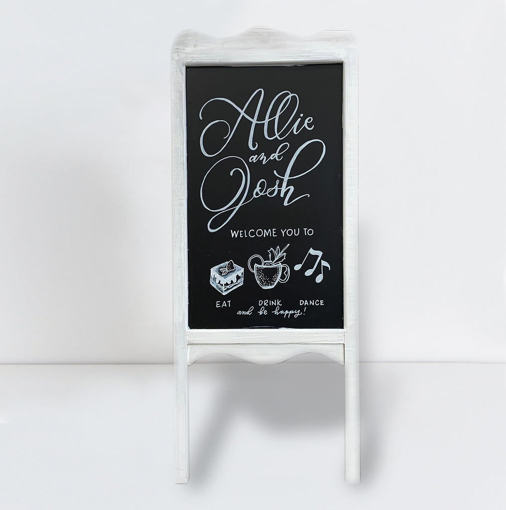 White Sandwich Board Welcome Sign | RENTAL + LETTERING
