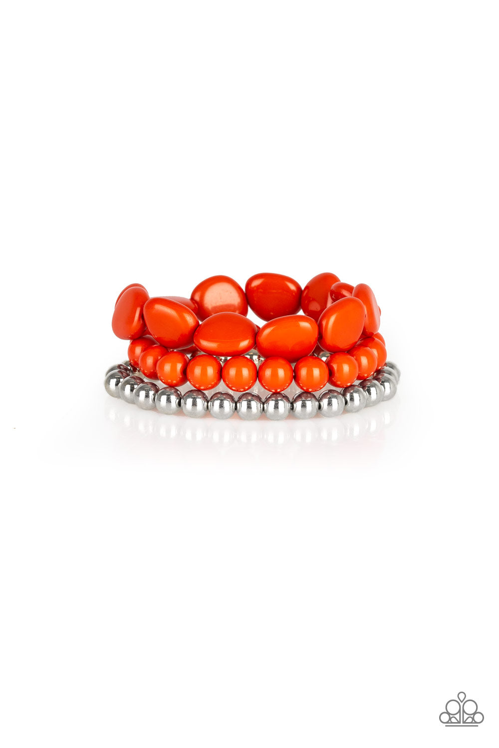 Color Venture - orange beaded stretch bracelet - The Paparazzi Fox