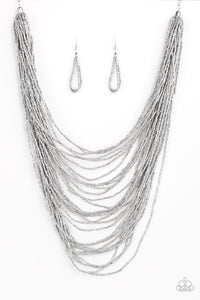 Dauntless Dazzle - Silver Seed Bead Necklace - The Paparazzi Fox