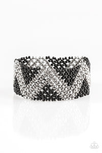 Desert Loom - Black Gunmetal Stretch Bracelet - The Paparazzi Fox