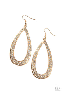 Diamond Distraction - Gold Rhinestone Earring - The Paparazzi Fox