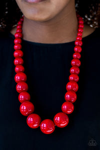 Red Wooden Bead Necklace Paparazzi
