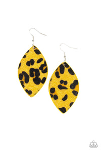 GRR-irl Power! - Yellow and Black Cheetah Print Earrings - The Paparazzi Fox