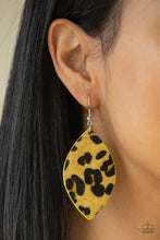 Load image into Gallery viewer, GRR-irl Power! - Yellow and Black Cheetah Print Earrings - The Paparazzi Fox