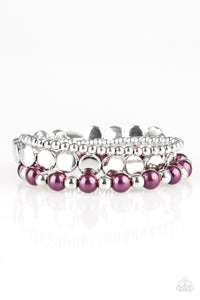 Girly Girl Glamour - Purple Silver Stretch Bracelet - The Paparazzi Fox