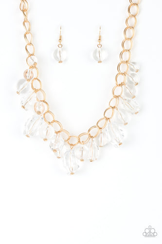 Clear Crystal and Gold Necklace Paparazzi