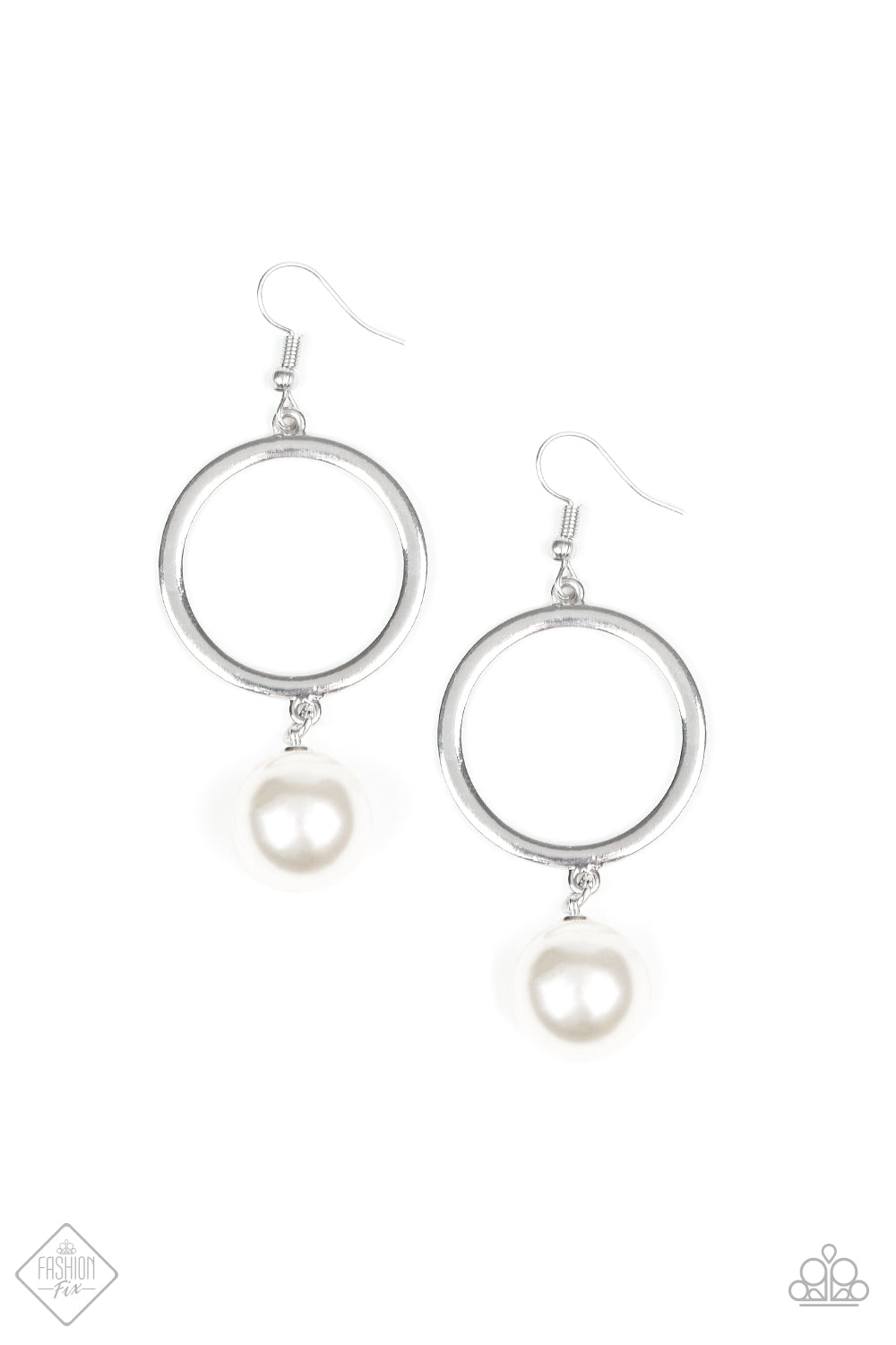 Grand Central Chic - White Pearl Hoop Earrings - The Paparazzi Fox