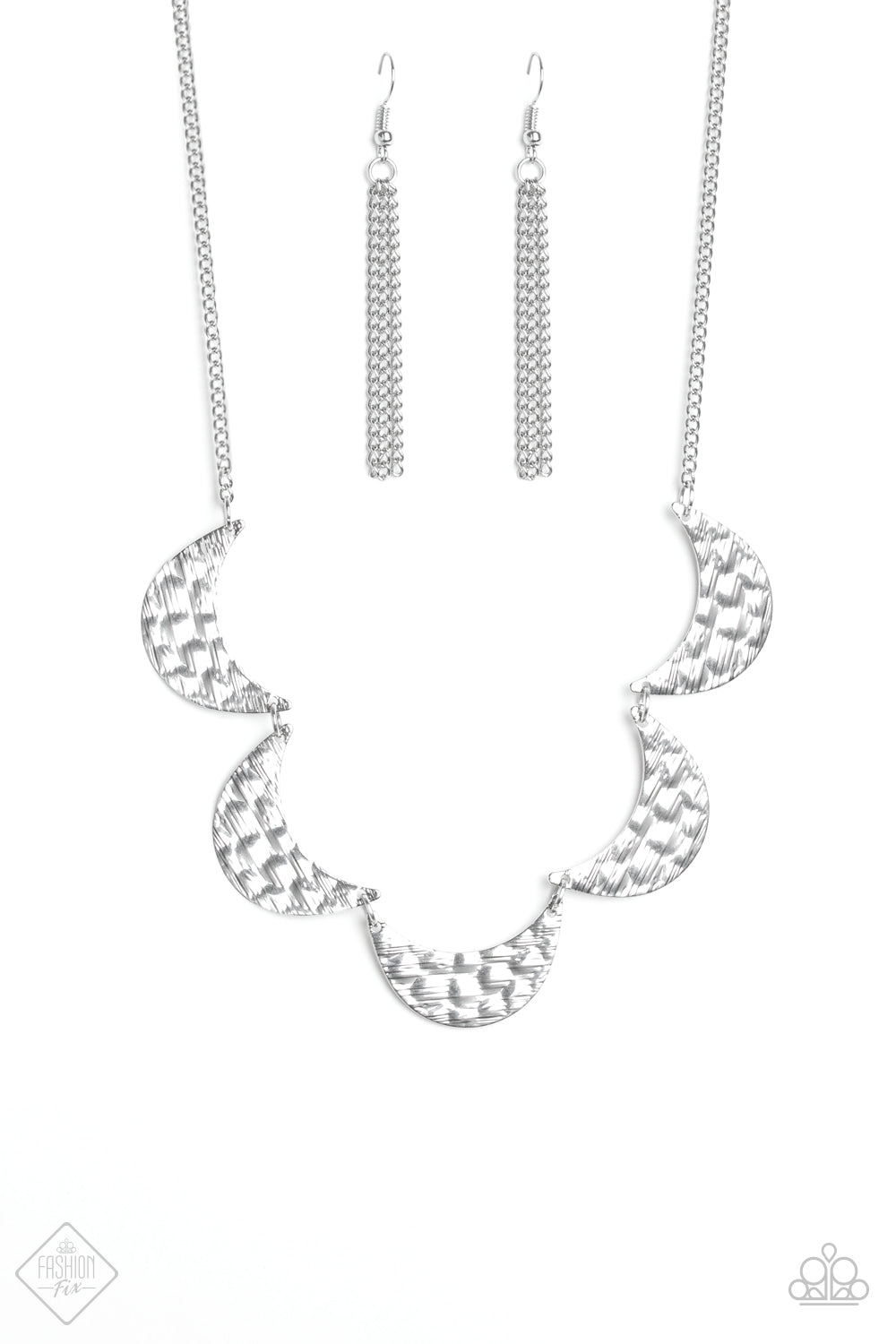 Lunar Lights - Half-Moon Silver Necklace - The Paparazzi Fox