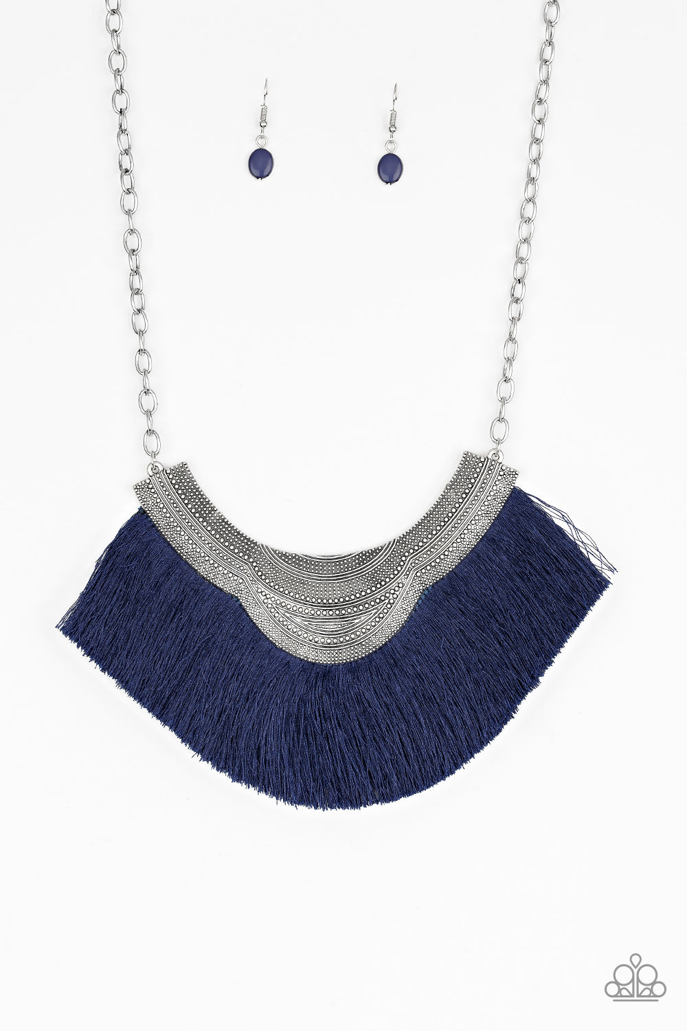 My Pharaoh Lady Blue Fringe Necklace Paparazzi
