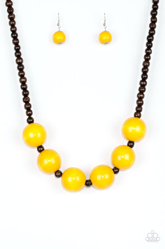Yellow and Brown Wooden Beaded Necklace