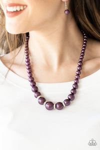 Party Pearls Purple Rhinestone Necklace Paparazzi
