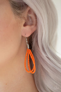 Peacefully Pacific - Orange Seed Bead Necklace Earrings - The Paparazzi Fox
