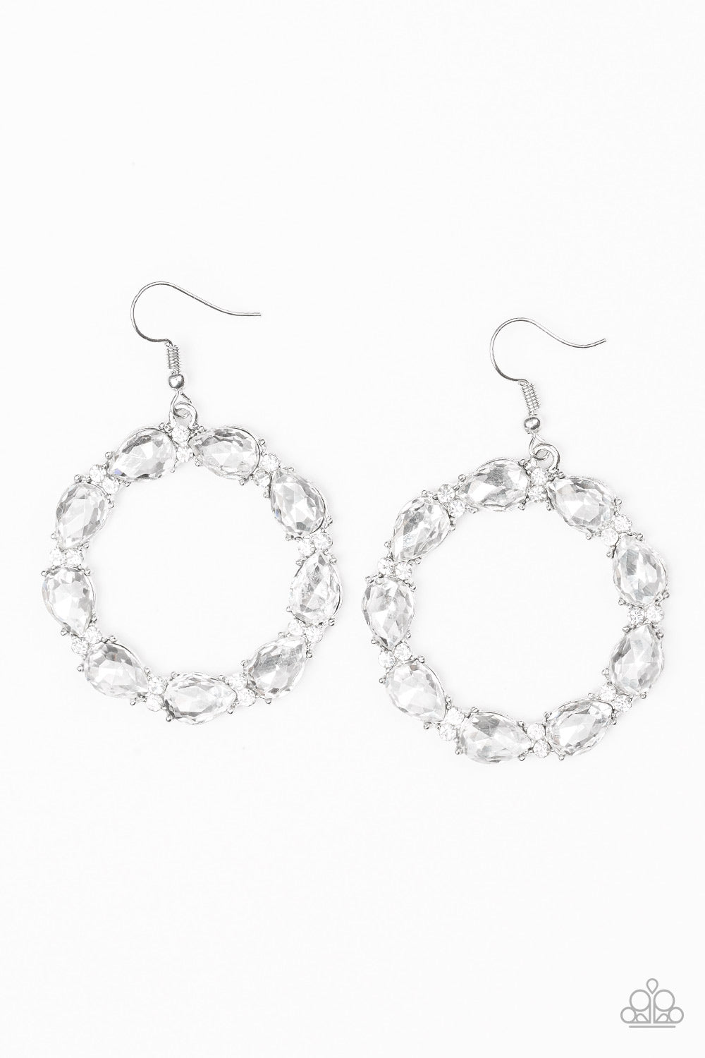Ring Around The Rhinestones - White Bling Earrings - The Paparazzi Fox