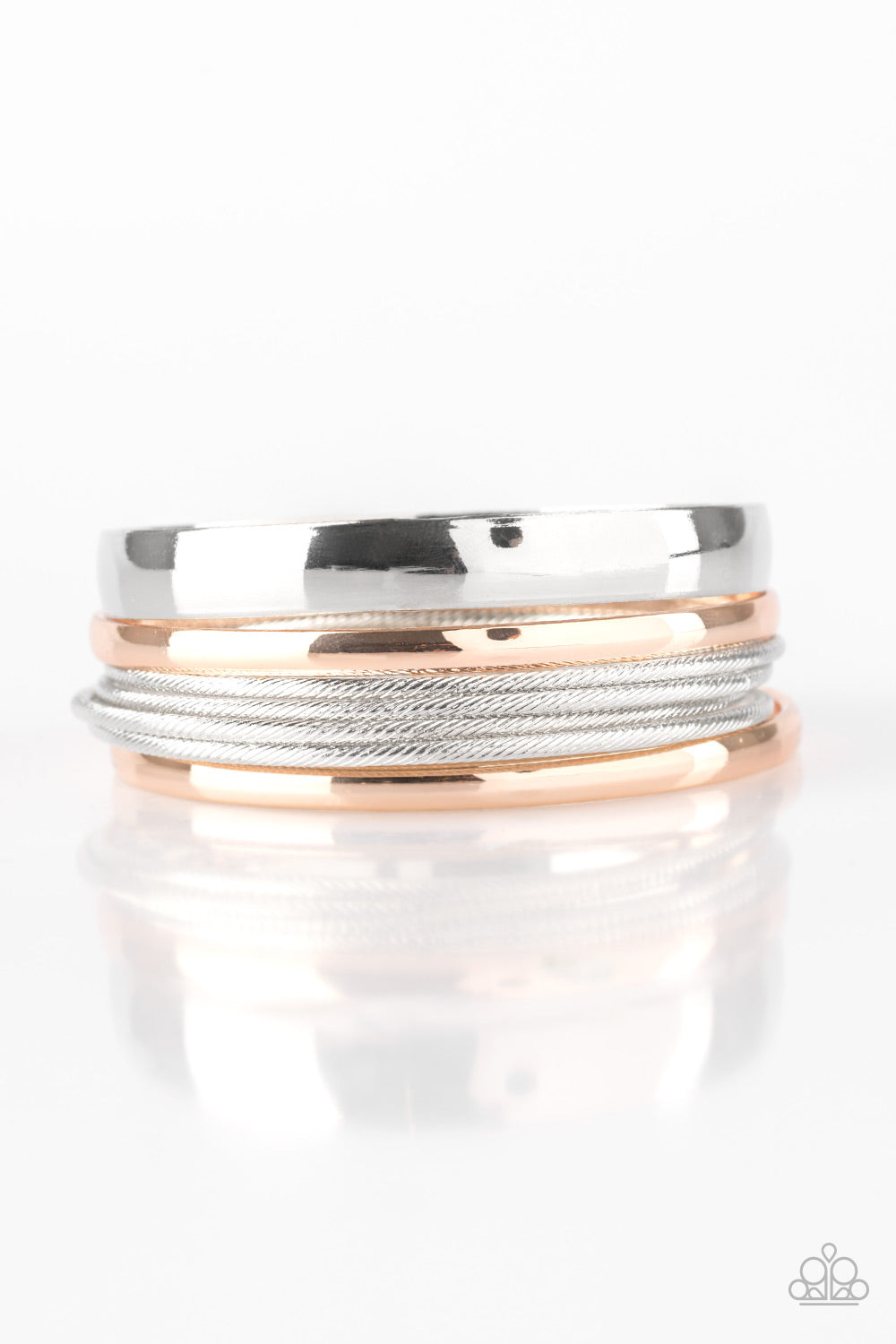 Sahara Shimmer - Silver and Rose Gold Bangle Bracelets - The Paparazzi Fox