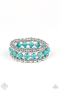 Sandstone Serendipity - Turquoise Stretch Bracelet - The Paparazzi Fox