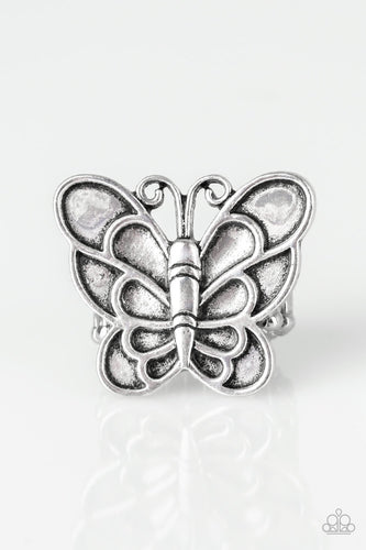 Sky High Butterfly - Silver Butterfly Ring - The Paparazzi Fox