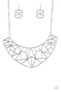 Strike White HAUTE Silver Necklace Paparazzi